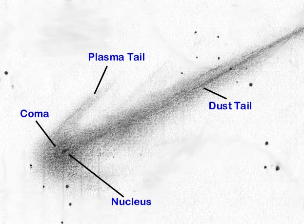 comet drawing with parts labeled